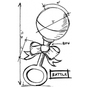 Tim Holtz Wood Mounted Stamp - Rattle Sketch P1-2616