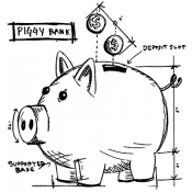 Tim Holtz Wood Mounted Stamp - Piggy Bank Sketch P1-2621