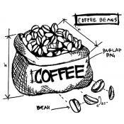 Tim Holtz Wood Mounted Stamp - Coffee Beans Sketch P1-2627