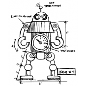 Tim Holtz Wood Mounted Stamp - Robot 4 Sketch P1-2631