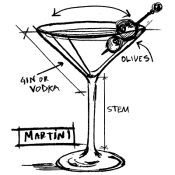 Tim Holtz Wood Mounted Stamp - Martini Sketch P1-3183