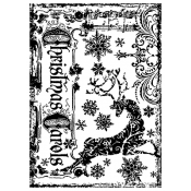 Tim Holtz Wood Mounted Stamp - Reindeer Games P4-1370