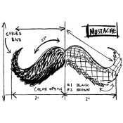 Tim Holtz Wood Mounted Stamp - Mustache Sketch P4-2086