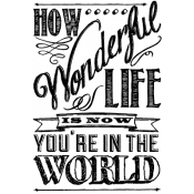 Tim Holtz Wood Mounted Stamp - Wonderful Life P4-2306