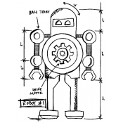 Tim Holtz Wood Mounted Stamp - Robot 1 Sketch P4-2632