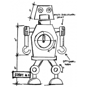 Tim Holtz Wood Mounted Stamp - Robot 2 Sketch P4-2633
