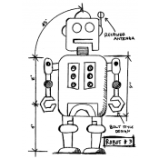 Tim Holtz Wood Mounted Stamp - Robot 3 Sketch P4-2634