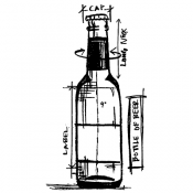 Tim Holtz Wood Mounted Stamp - Beer Bottle Sketch P4-3181
