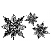 Tim Holtz Wood Mounted Stamp - Snowflakes P5-1260