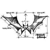 Tim Holtz Wood Mounted Stamp - Bat Sketch P5-1944