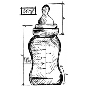 Tim Holtz Wood Mounted Stamp - Bottle Sketch P5-2617