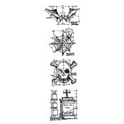 Tim Holtz Blueprint Strip Stamps - Halloween THMB002