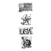 Tim Holtz Blueprint Strip Stamps - Americana THMB006