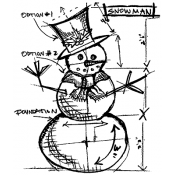 Tim Holtz Wood Mounted Stamp - Snowman Sketch U1-1947