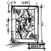 Tim Holtz Wood Mounted Stamp - Queen Sketch U1-2063