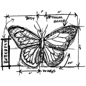 Tim Holtz Wood Mounted Stamp - Butterfly Sketch U1-2067
