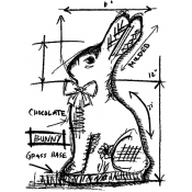 Tim Holtz Wood Mounted Stamp - Bunny Sketch U1-2068