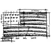 Tim Holtz Wood Mounted Stamp - Flag Sketch U1-2071