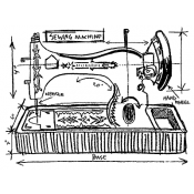 Tim Holtz Wood Mounted Stamp - Sewing Machine Sketch U1-2076