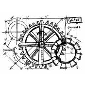 Tim Holtz Wood Mounted Stamp - Gears Sketch U1-2084