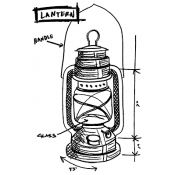 Tim Holtz Wood Mounted Stamp - Lantern Sketch U1-2420