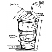 Tim Holtz Wood Mounted Stamp - Iced Coffee Sketch U1-2630