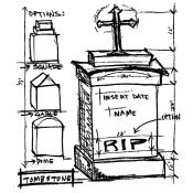 Tim Holtz Wood Mounted Stamp - Tomb Sketch U2-1945