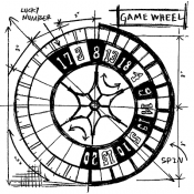Tim Holtz Wood Mounted Stamp - Game Wheel Sketch U2-2088