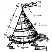 Tim Holtz Wood Mounted Stamp - Party Hat Sketch U2-2096