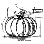 Tim Holtz Wood Mounted Stamp - Pumpkin Sketch U2-2174