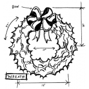 Tim Holtz Wood Mounted Stamp - Wreath Sketch U2-2179
