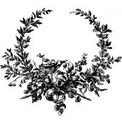 Tim Holtz Wood Mounted Stamp - Floral Wreath U2-2293