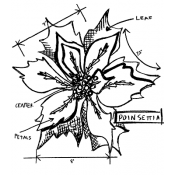 Tim Holtz Wood Mounted Stamp - Poinsettia Sketch U2-2418