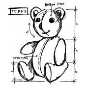 Tim Holtz Wood Mounted Stamp - Teddy Sketch U2-2622