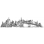 Tim Holtz Wood Mounted Stamp - New York Cityscape U4-2597