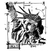 Tim Holtz Wood Mounted Stamp - Liberty Sketch V1-2072