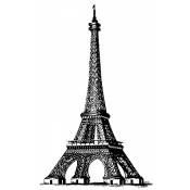 Tim Holtz Wood Mounted Stamp - Eiffel Tower V2-2109