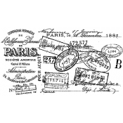 Tim Holtz Wood Mounted Stamp - Paris Certificate V2-2110