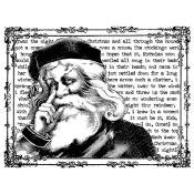 Tim Holtz Wood Mounted Stamp - Storytime Santa V4-1263