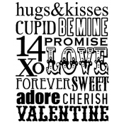 Tim Holtz Wood Mounted Stamp - Valentine Words X1-1787
