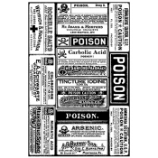 Tim Holtz Wood Mounted Stamp - Poison Labels X1-2187