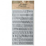 Tim Holtz Idea-ology Metallic Stickers: Alpha Silver - TH93561