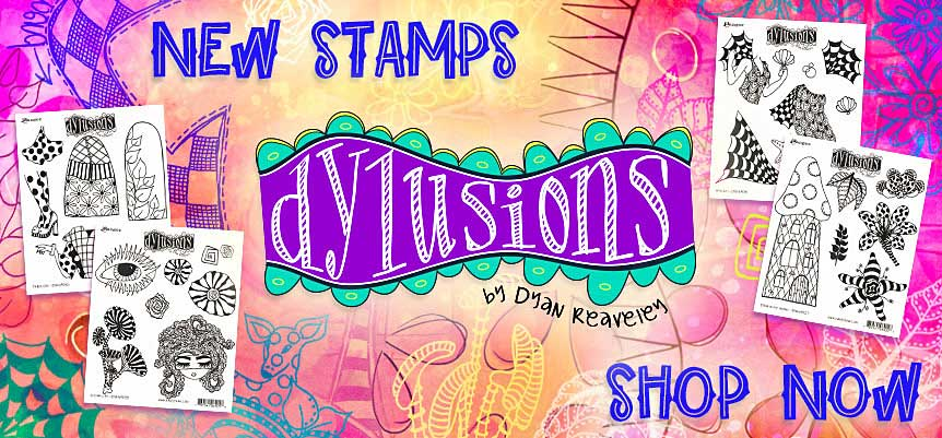 New Dylusions Cling Mount Stamp Sets!